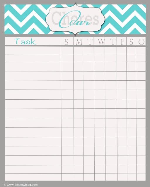 fillable chore chart template printable editable blank