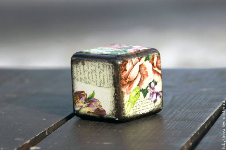 """Интерьерный кубик """"Цветы"""" - разноцветный,куб,кубик,кубики деревянные,кубики декупаж"""