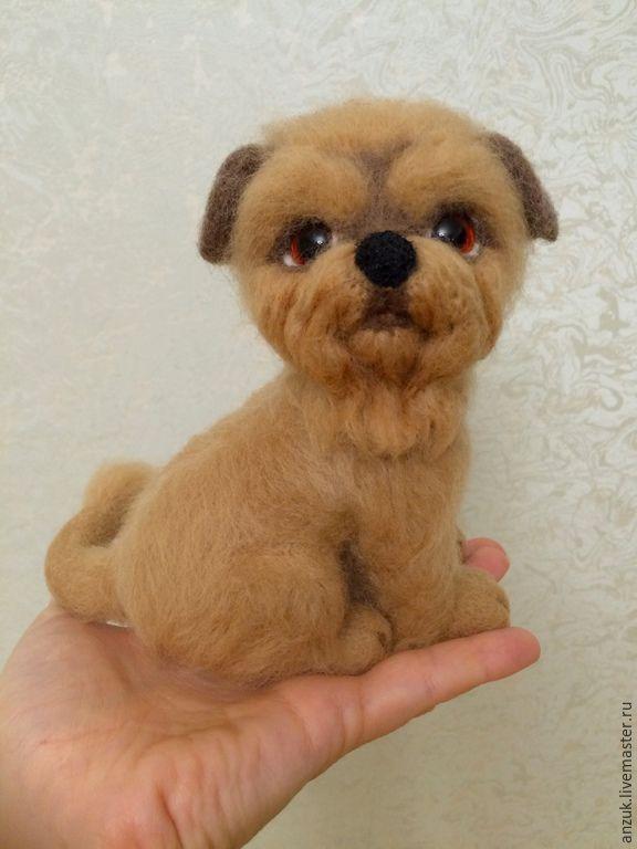 Купить Брюссельский гриффон Деметра(валяние по фото). - бежевый, собака, щенок, собака валяная, брюссельский гриффон