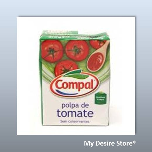 Compal® Tomato Pulp. 100% portuguese tomato. Ingredients: concentrated tomato juice and pulp, salt and acidity regulator, citric acid. ONCE OPENED KEEP REFRIGERATED – 210gr http://www.mydesirestore.com/product/compal-tomato-pulp/