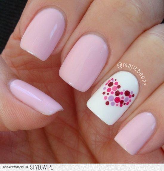 Polka Dot Heart Nails, would match my prom dress | Nail… na Stylowi.pl
