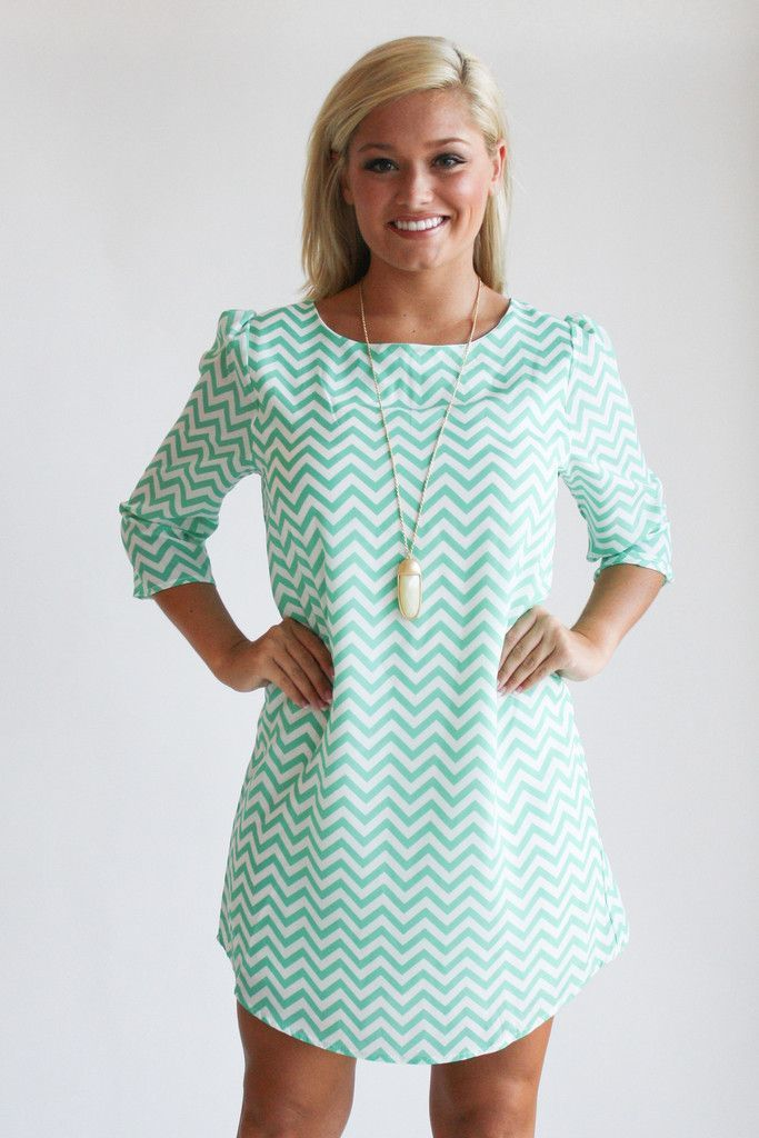 mint chevron shirt dress