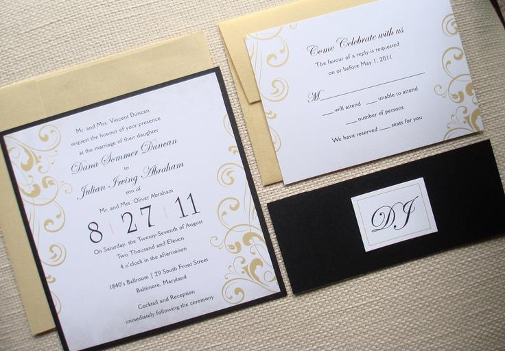 Vintage Metallic Wedding Invitation Set-  Black and Gold Flourish belly band. Bat mitzvah, sweet sixteen,  baby bridal shower christening