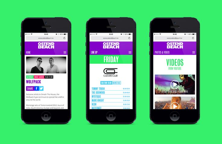 Ostend Beach - Mobiele website   by Skinn Branding Agency