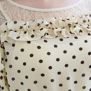 2015 nova malha meia manga feminino dot chiffon camisa personalizada senhoras de renda blusas C022 em Blusas de Roupas e Acessórios Femininos no AliExpress.com | Alibaba Group