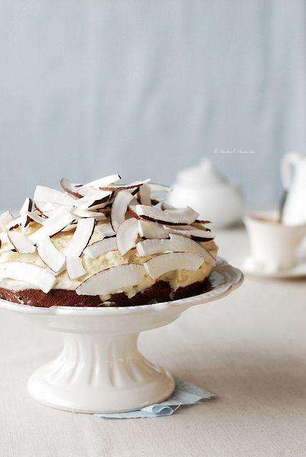 cake with coconut ice cream.