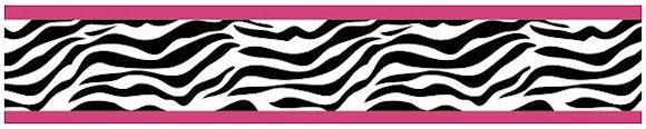 Zebra Print Wallpaper Border Pink Black & White for Girls