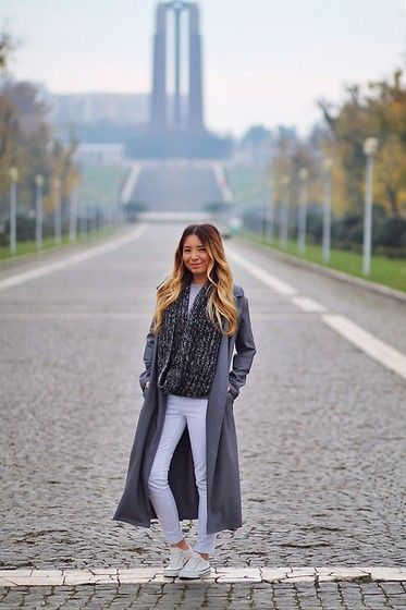 Get this look: http://lb.nu/look/7894822  More looks by Andreea  Ristea: http://lb.nu/andreearistea  Items in this look:  Sheinside Grey Coat   #casual #chic #street #grey #outfit #scarf #coat #white #pants