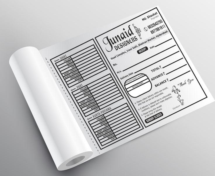 Bill Book, Receipt Book, Invoice Designs   - book invoice