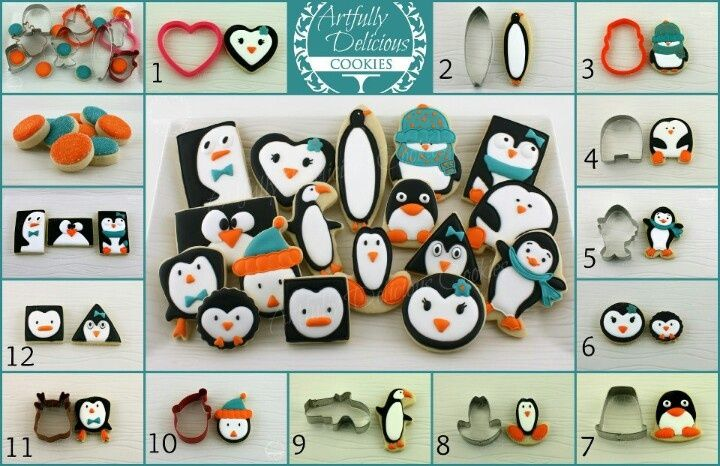Penguin family using different cutters
