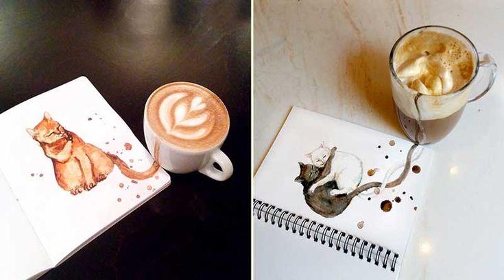Kahve ile Oluşturulmuş Minnak Kedi Karakterleri – Kahve Sanatı