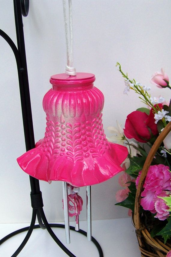 Windchime Dark Pink Light Shade Windchime Glass by handcreated4u