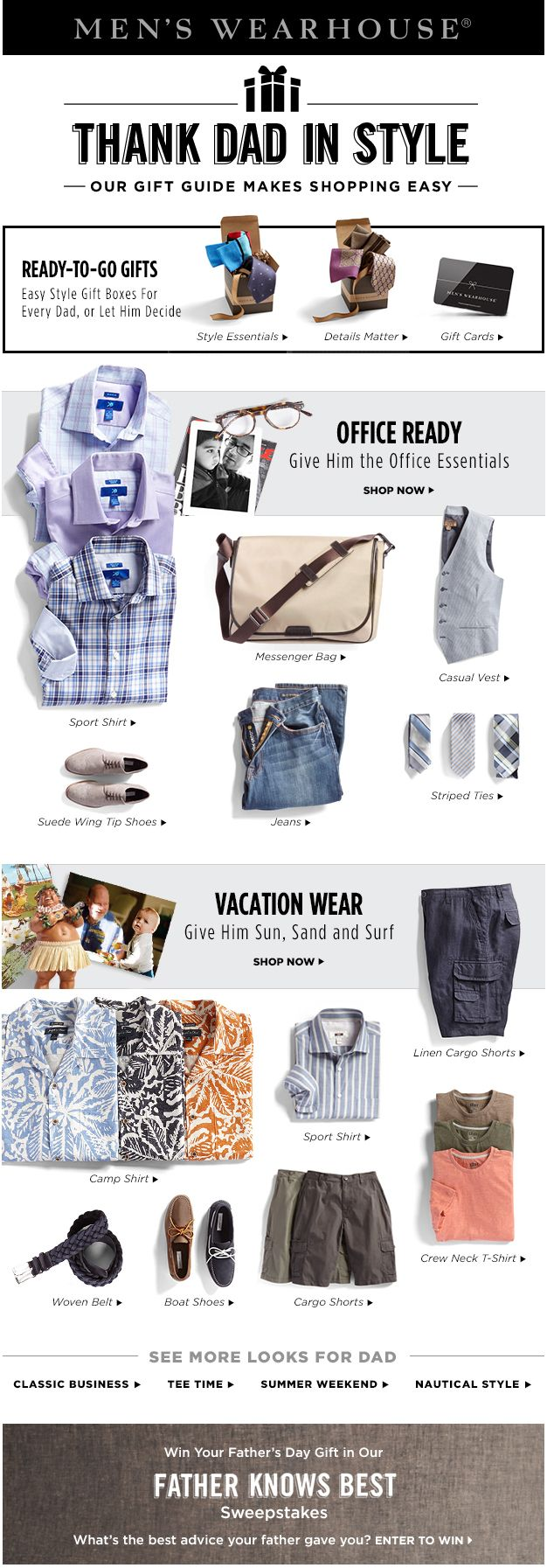 Men's Wearhouse father's day email promotion; Art Direction and Design: Allison Milmoe