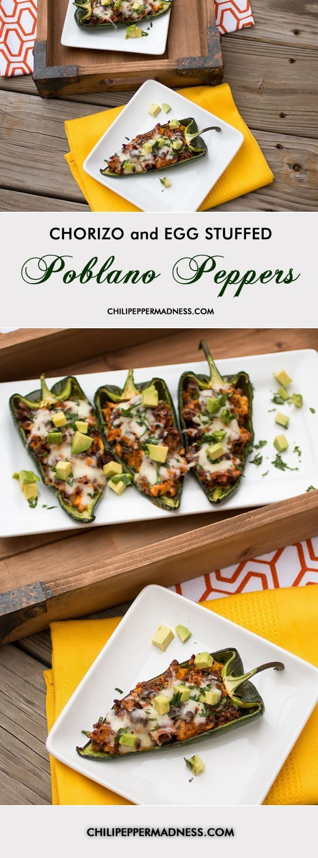 Chorizo and Egg Stuffed Poblano Peppers - Perfect stuffed chili peppers for breakfast or lunch | ChiliPepperMadness.com