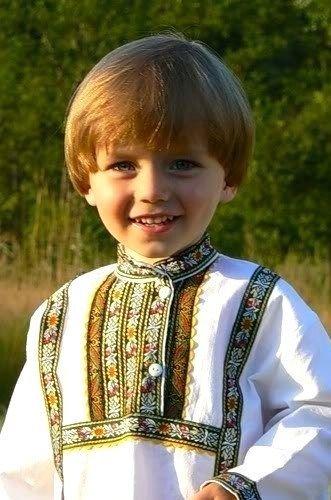 Little Russian boy wearing traditional shirt. #kids