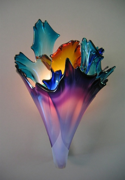 Ethel A. Furman   Handcrafted blown glass vase