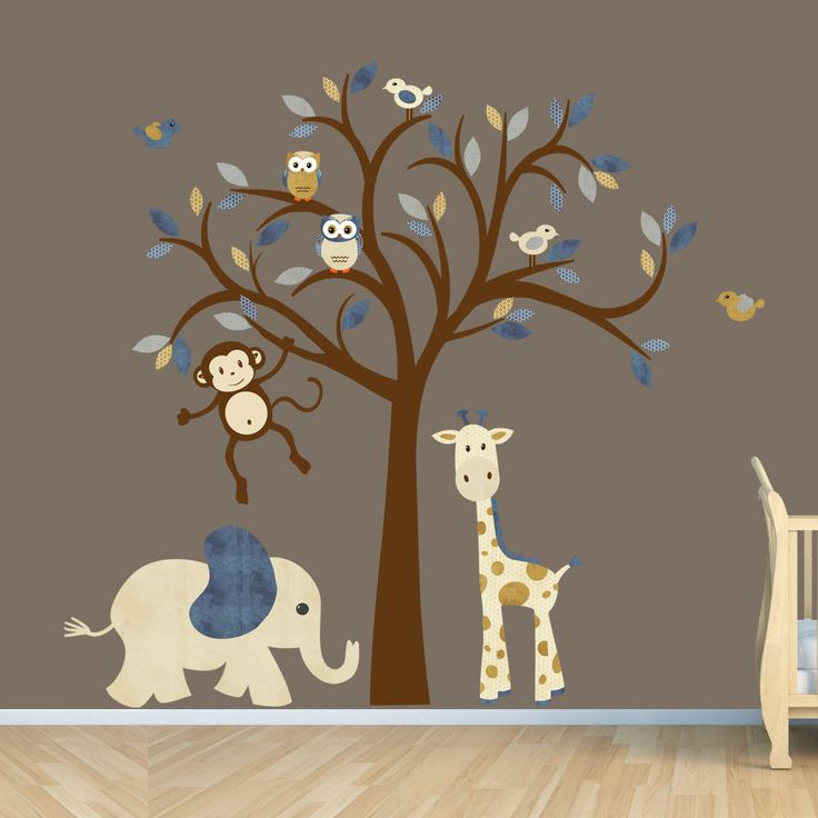 Kids room wall decal jungle animal nursery decor tree for Animal wall mural