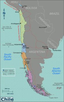 Map of Chile with regions colour coded Northern Chile (Regions of Arica-Parinacota, Tarapacá, Antofagasta, Atacama and Coquimbo) Visit the driest desert in the world, archeological ruins and the Andean highlands. Central Chile (Regions of Valparaíso, Santiago, O'Higgins and Maule) The heart of the country, you can visit the main cities, famous vineyards and some of the best ski resorts in the Southern Hemisphere Southern Chile (Regions of Biobío, Araucanía, Los Ríos and Los Lagos) The ...