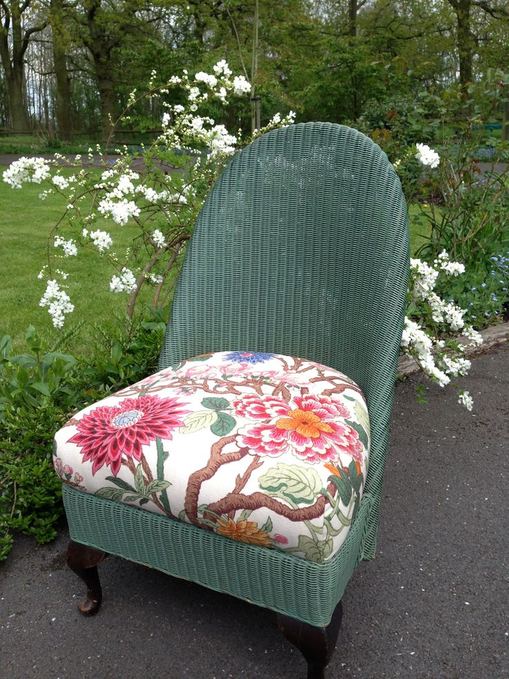Lloyd loom chair, floral fabric.