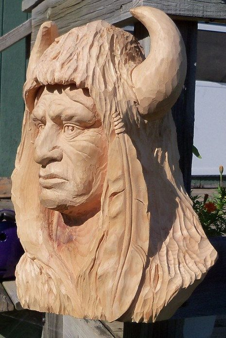 Head/Face Indian Head Carving-all chiseled by hand. $625,00, via Etsy.