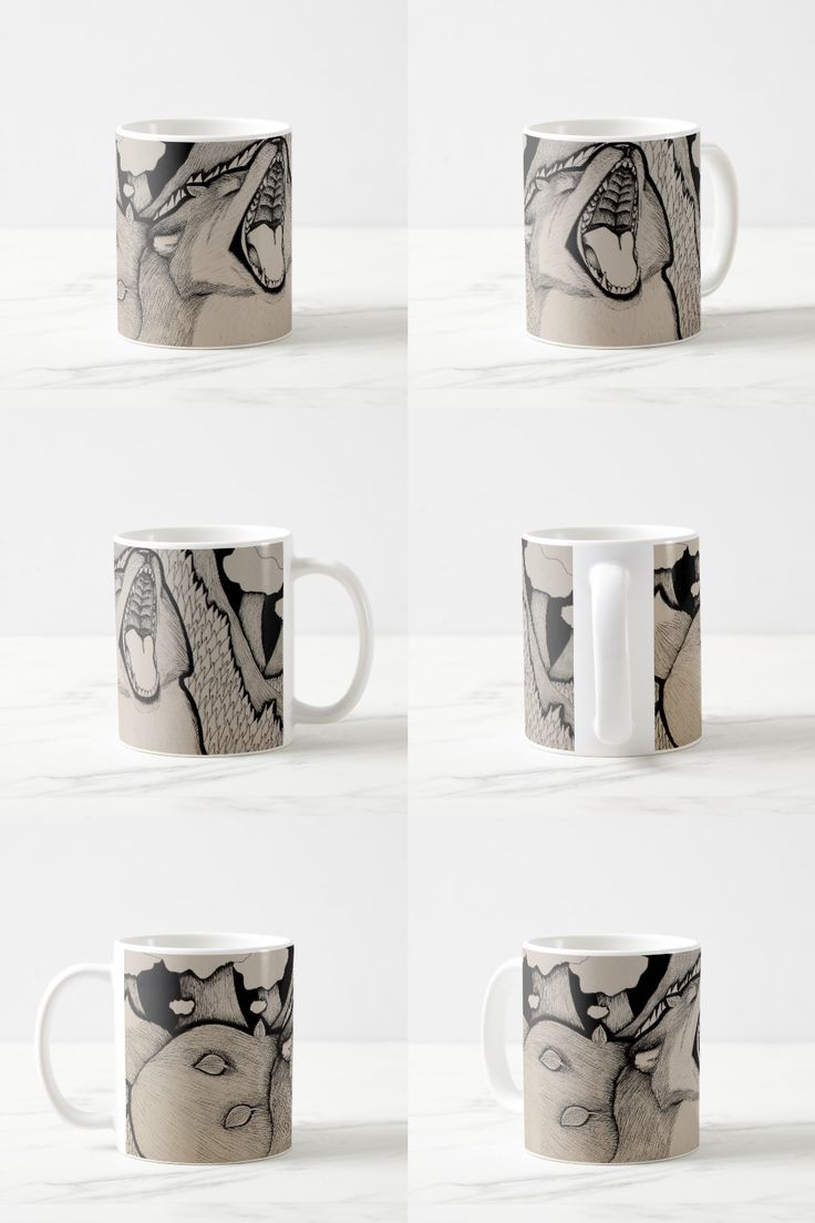 """Crybaby"" Black and white cute illustrated fox Coffee Mug"