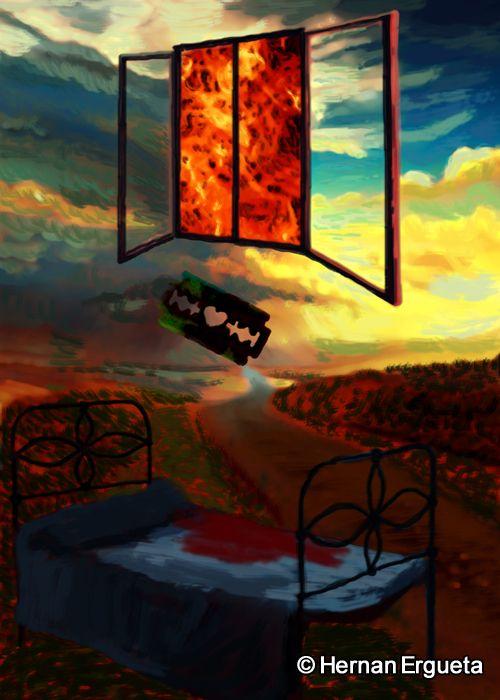 """Ilustracion del cuento titulado """"A la vera del camino"""" (On a Roadside) del libro: El Santuario que Arde"""" de Hernán Ergueta #hernanergueta #ilustracion #cuentos"""