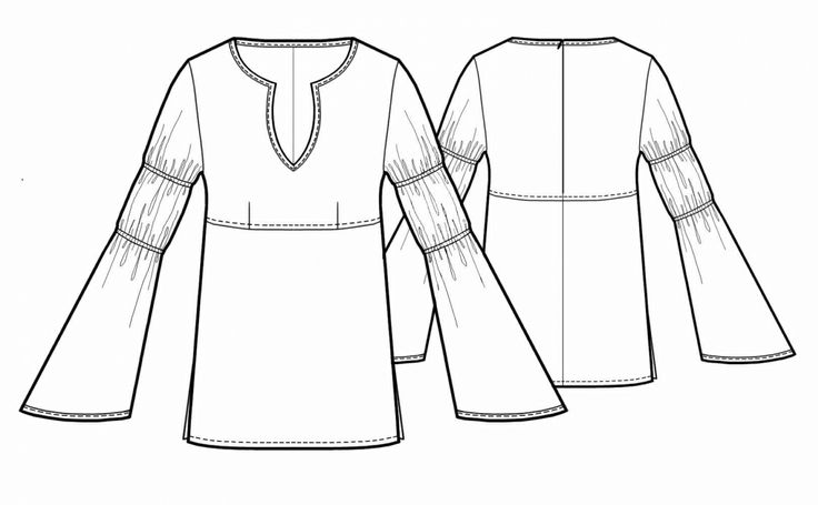 Folk Style Blouse - Sewing Pattern #5436 - $2.49 (Enter your measurements for a custom-size pattern!)