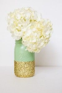 Mint and Gold Glitter Mason Jars Wedding Decors