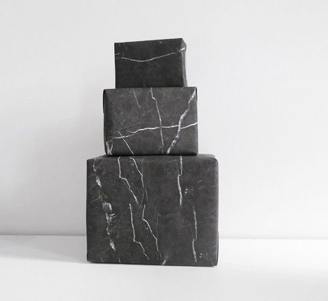 The Minimalist - black marble wrapping paper