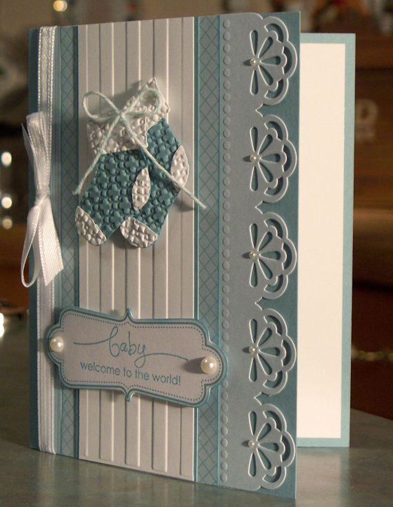 Handmade New Baby Boy Card Stampin' Up A Word by WhimsyArtCards