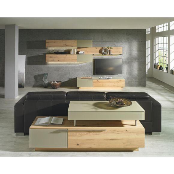 WOHNWAND in mehrschichtige Massivholzplatte (Tischlerplatte) Wildeiche Schlamm, Eichefarben - Wohnwände - Wohn- & Esszimmer - Produkte