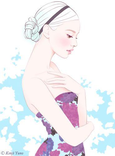 美しい女性イラスト 綺麗な女性イラスト 上品な女性イラスト 人物イラスト コスメイラスト。女性が見ても美しいと感じるエレガントで優しいきれいな女性イラスト。 ヘアメイクイラスト コスメイラスト スキンケアイラスト