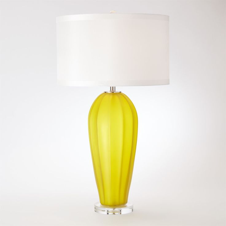 Fluted Frosted Glass Contemporary Yellow Table Lamp by Global Views