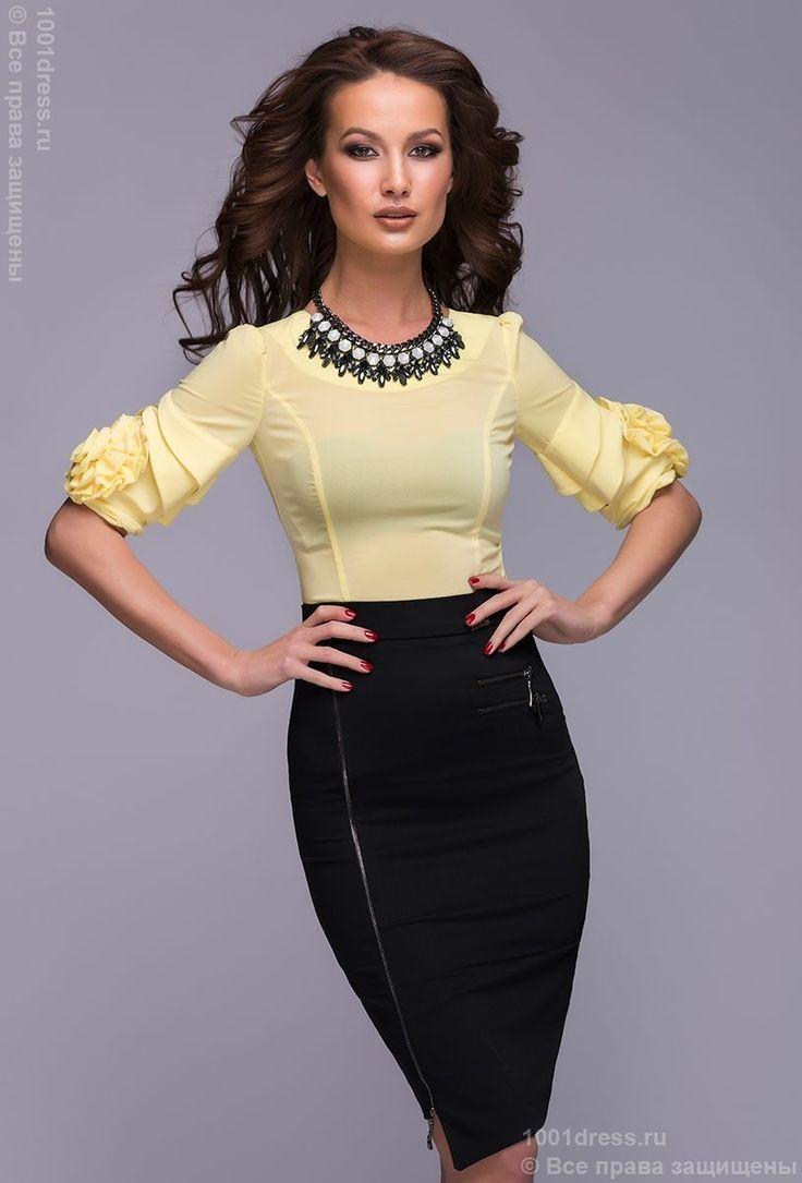 Платье черное длины мини с желтым верхом и молниями на юбке. Желтый, черный в интернет магазине Платья для самых красивых 1001dress.Ru