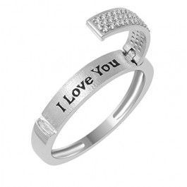 Diamond Wedding Band Ring I love You Engraved 0.15ctw Diamonds Anniversary Ring 4mm