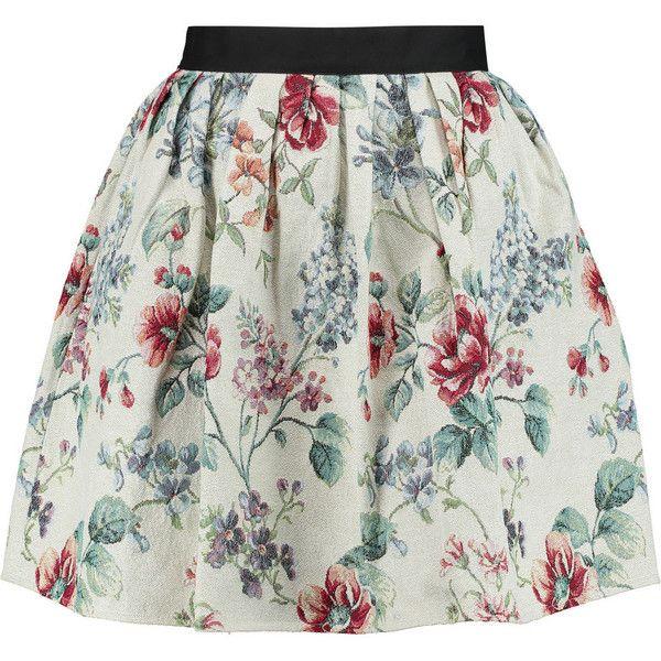 Raoul Metallc floral-jacquard mini skirt ($195) ❤ liked on Polyvore featuring skirts, mini skirts, bottoms, pants, cream, short pleated skirt, cream skirt, floral print skirt, colorful skirts and floral print mini skirt