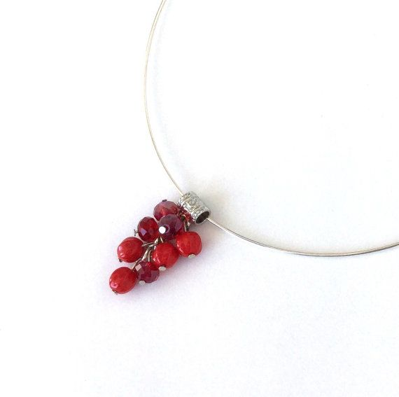 Silver plated choker red crystal and pressed glass bead