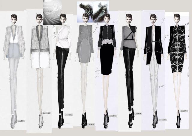 Fashion Sketchbook - fashion illustrations of the designer's final lineup - fashion design; developing a fashion collection; fashion portfolio // HAN GU . UNI