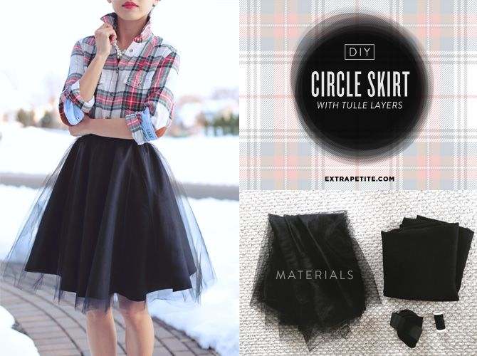 ExtraPetite.com - Holiday Tutorial: DIY Full Circle Skirt with Tulle Overlay - so cool! I wanna wear tulle every day.
