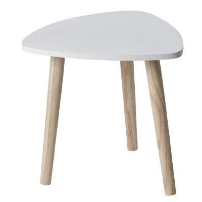 Table basse blanche avec pieds couleur bois, dim. 32x35x35 cm, MDF (panneau de fibres de bois).