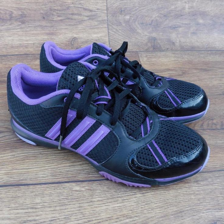 size uk 7 adidas core 50 womens black purple training running shoes trainers