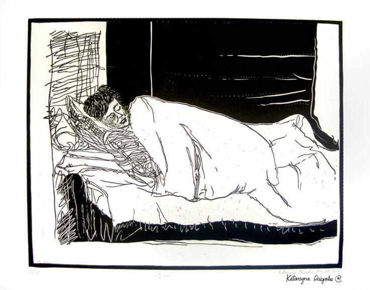 Śpiąca (Sleeping), linocut 2007 #linocut #linoryt #print #printing #druk #drukowanie #uljado