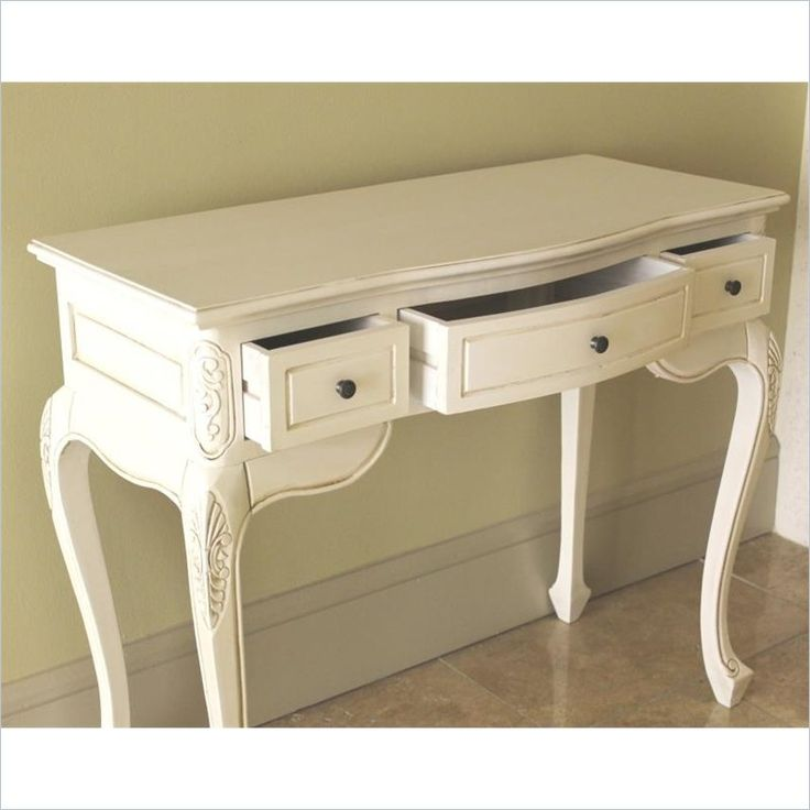 International Caravan Carved Vanity Desk in White - 3979-AW