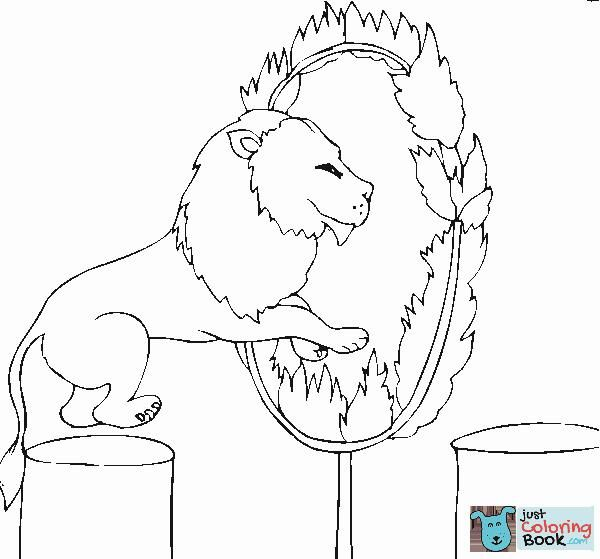 Lion Jumps Into The Fire Coloring Page Lion Coloring Pages