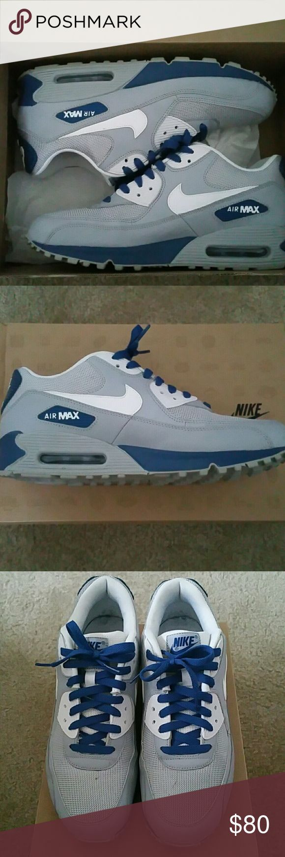 Nike Air Max 90 Essential Nike Air Max 90 wolf grey/white/dark royal blue 9/10 condition. Will listen to offers Nike Shoes Sneakers