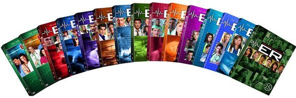 ER - Complete Seasons 1-15 (84-DVD) (2011) - Television on Starring George Clooney, Paul McCrane, Anthony Edwards, Scott Grimes, Maria Bello, Mekhi Phifer, Eriq La Salle, Noah Wyle, Gloria Reuben, Julianna Margulies, Sherry Stringfield, John Stamos, Michael Michele, Kellie Martin, Alex Kingston, Goran Visnjic, Laura Innes, Maura Tierney, Parminder Nagra, Linda Cardellini, Erik Palladino, Ming-Na Wen & Sharif Atkins; Warner Home Video $376.94 on OLDIES.com