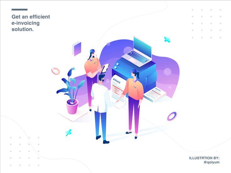 E Invoicing Isometric Illustration By Qoiyum