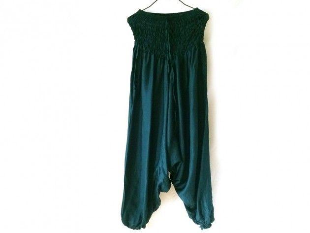 Turkisblå aladdinbukse / haremsbukse / yogabukse | Alternativ nettbutikk med organiske smykker og klær inspirert av naturen.