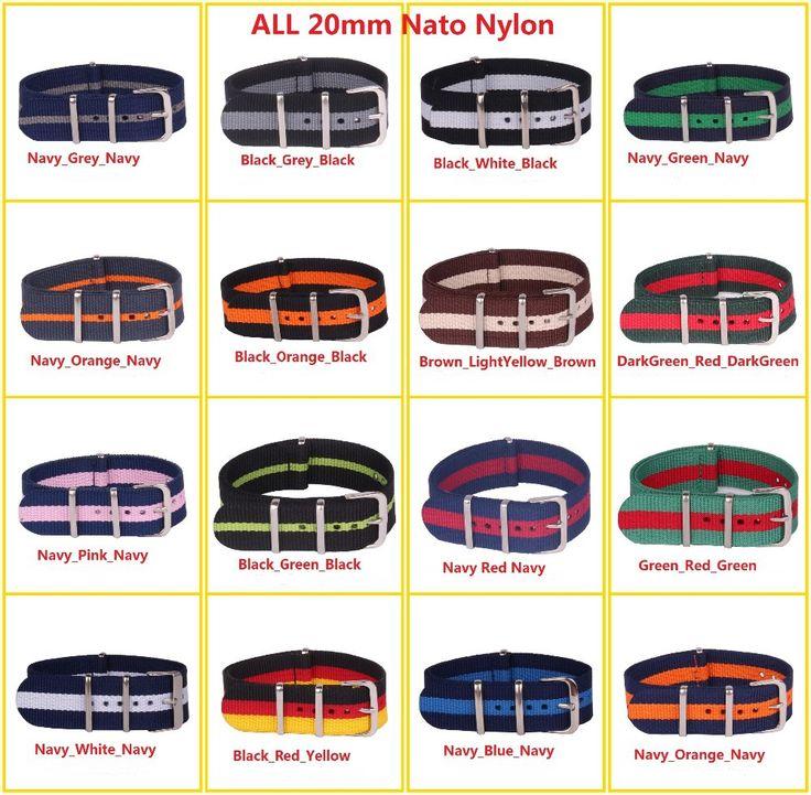 Ткань в полоску ремешок для часов 20 мм много цвет нато ткань ремень нейлон часы ремень 20 мм ремешок для часов 91 цвет 6 шт. / много