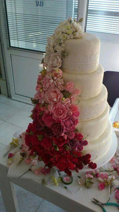 wedding cake, gum paste flowers, rose, peony, sweet pea, hydrangea...